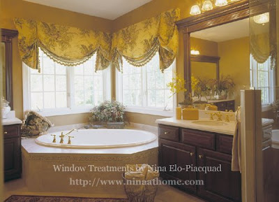 Bathroom Window Treatments on And Bold Fabrics Bring A Bit Of The Outdoors Into This Master Bathroom
