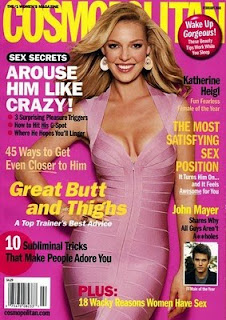Cosmo Magazine cover featuring this article: Arouse him like crazy!  3 surprising pleasure triggers, How to hit his G-spot, Where he hopes you'll linger; and The most satisfying sex position: it turns him on and it feels awesome for you; and 45 ways to get even closer to him!
