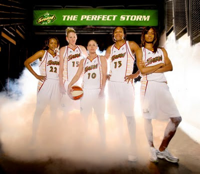 Photo of starting players for the Seattle Storm WNBA team