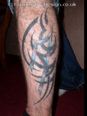 Polynesian Tribal Leg Tattoo by Jon Poulson. Polynesian Tribal Tattoo by Jon