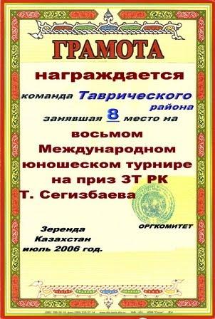 МЕЖДУНАРОДНЫЙ ТУРНИР. ЗЕРЕНДА - 2007.