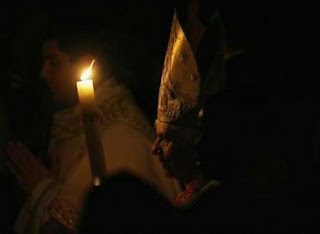Pope Benedict with the Easter candle at Vigil Mass 2008