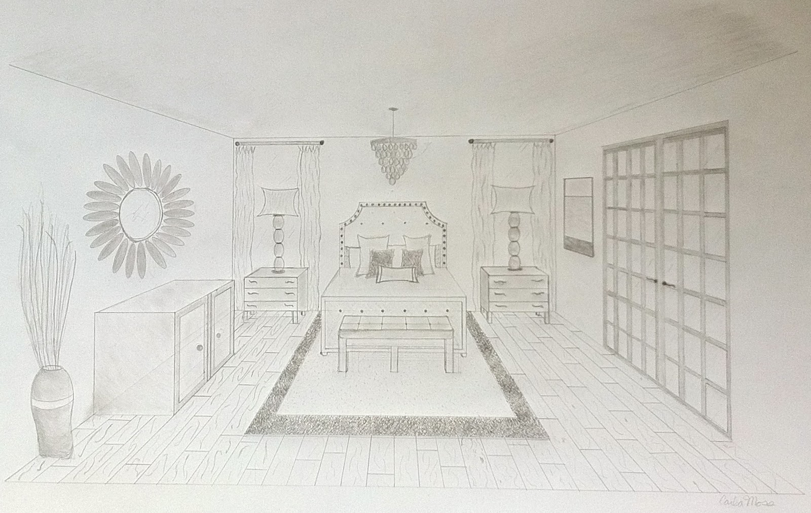 simple one point perspective bedroom first 1 point perspective