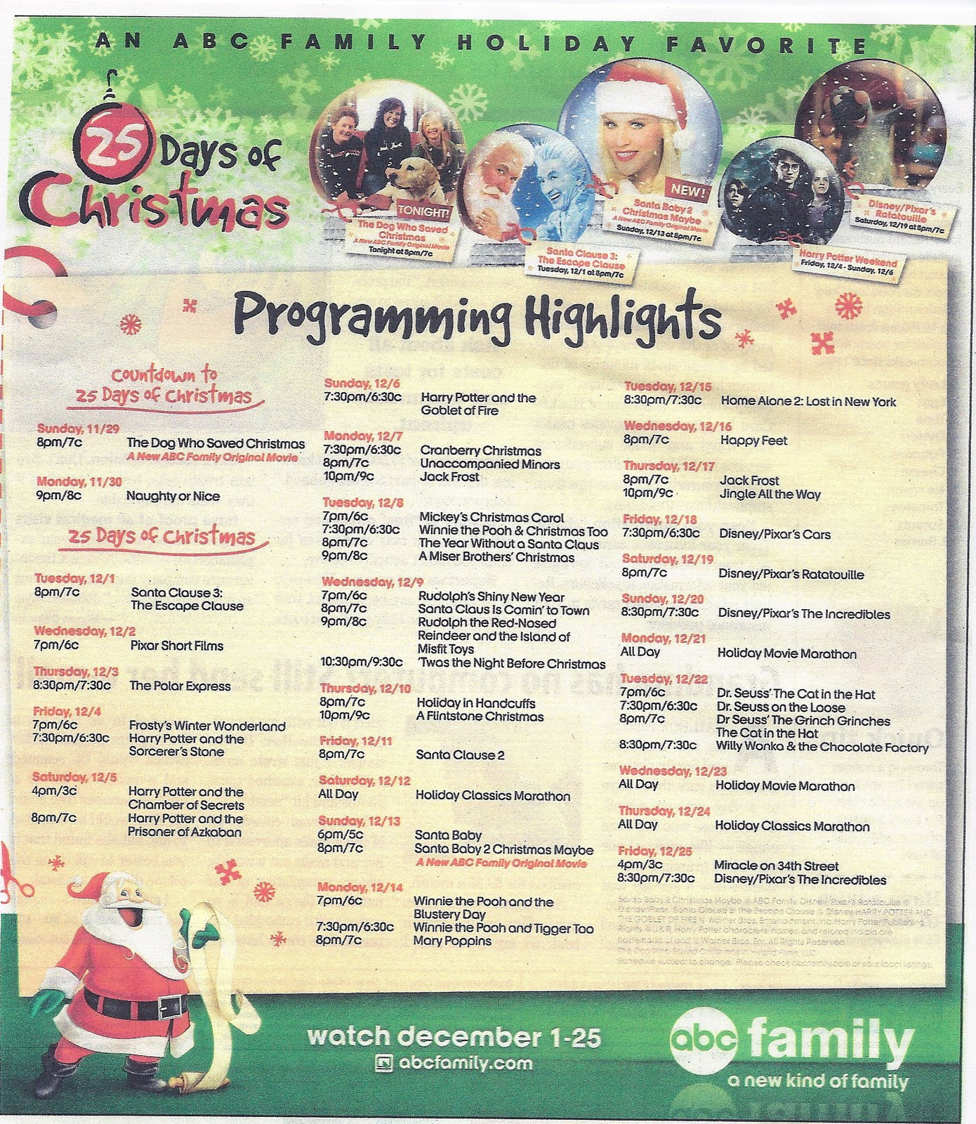 25 days of chirstmas schedule - 25 Days Of Christmas Abc Family