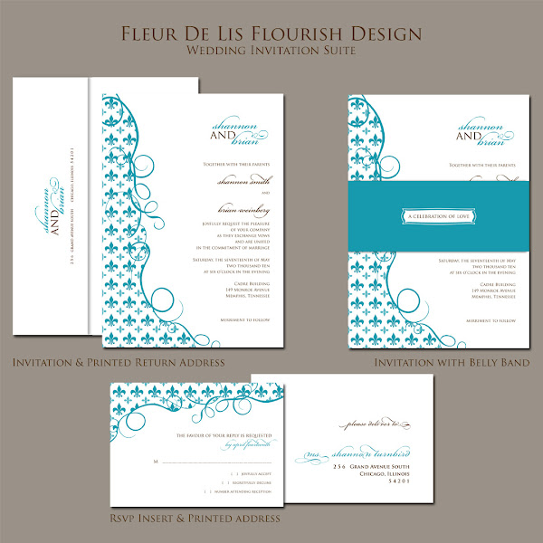 Fleur De Lis Flourish Wedding Invitation Suite
