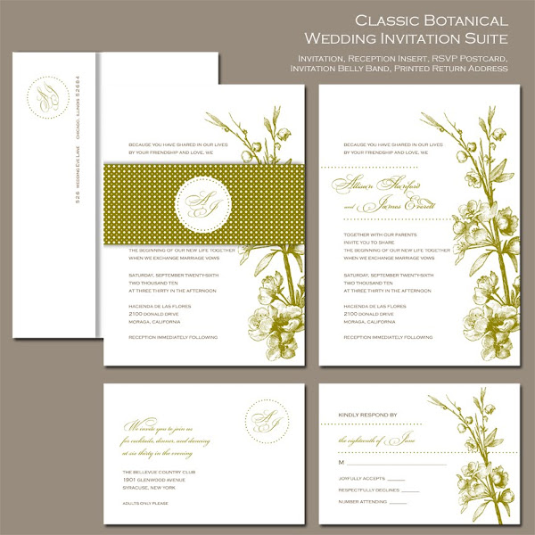 Classic Botanical Wedding Invitation Suite