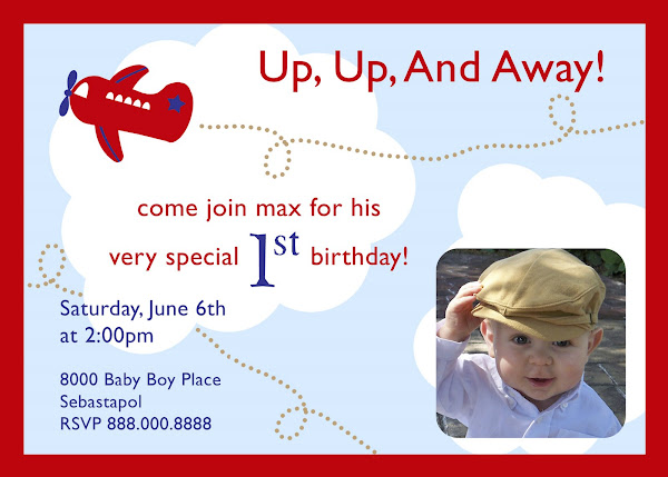Up, Up, and Away Airplane Invitation