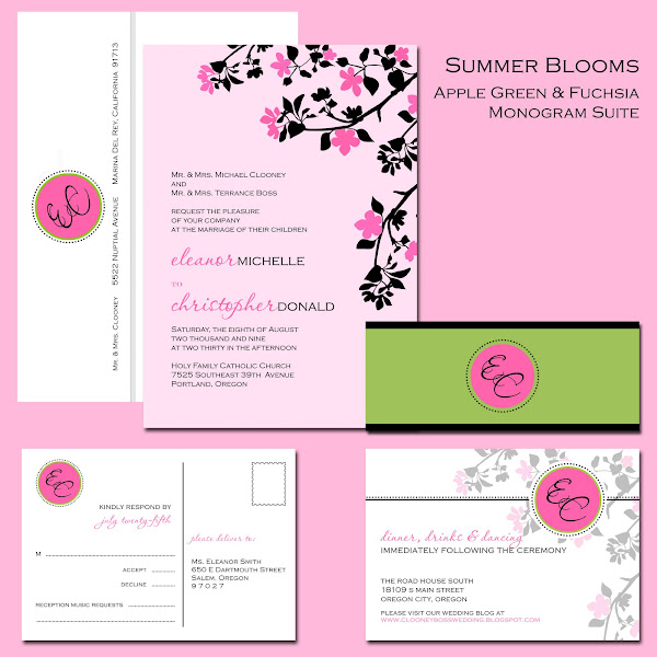 Apple &amp; Fuchsia Monogram Suite