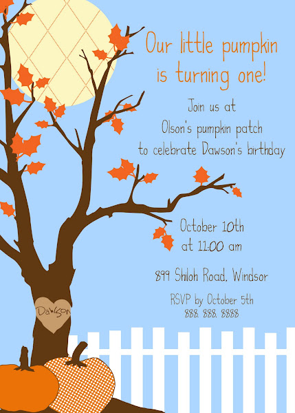 Little Pumpkin Fall Birthday or Halloween/Harvest/Festival Invitation