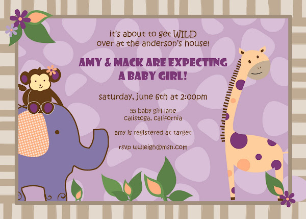 Jungle Girl Baby Shower Invitation