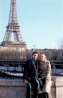 Bonnie and Clyde in front of the Eiffel Tower