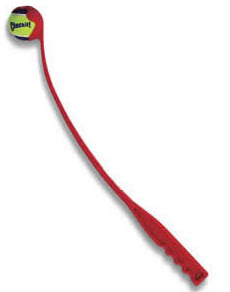 A chuckit is a long arm with a cup that holds a tennis ball on the end.  You scoop up the ball, flick your wrists and fire away.  The chuckit is good for three reasons, you can throw it much farther, you can pick it up without bending down, and you don't have to touch the dirty slobbered ball
