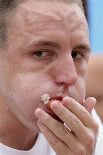 Your champion, Joey Chestnut displays the eye of the Tiger