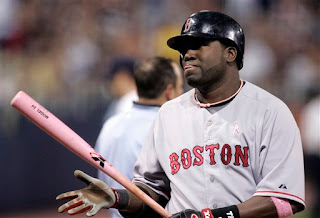 Big Papi swings a pink stick