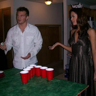 Elyse Umemoto playing beer pong