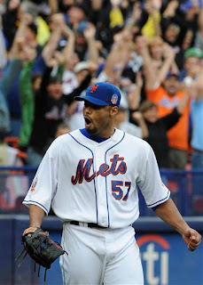 a pumped-up Johan Santana pitches the game of his life when the Mets needed it most