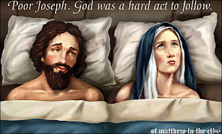 Joseph and Mary in bed billboard