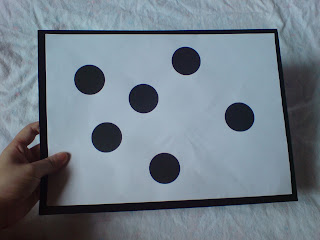 Black and White Math Dot Flashcard - Number 6