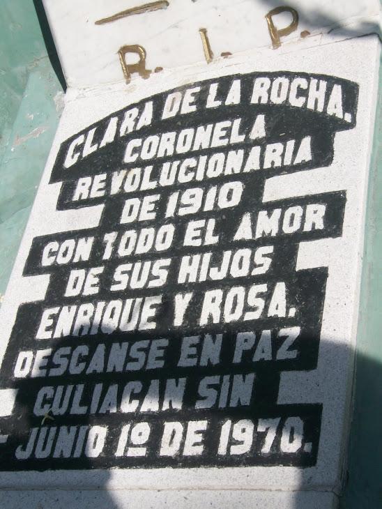 El epitafio de la Coronela Clara de la Rocha