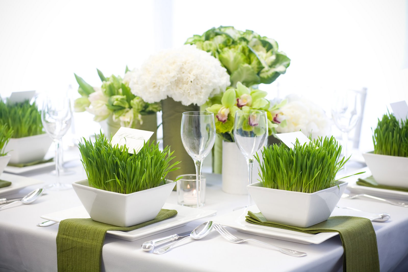 Green wedding centerpieces decorations