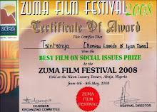 Zuma Award Certificate