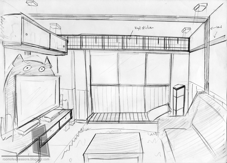 Dining room one point perspective drawing tattoo for Living room 2 point perspective