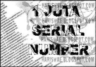 1 satu juta serial number