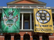 MASS. STATE HOUSE - its facade and Corinthian columns are covered by sports banners (mid-May 2009).