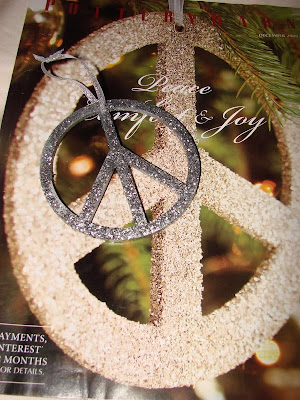 pottery barn peace ornament