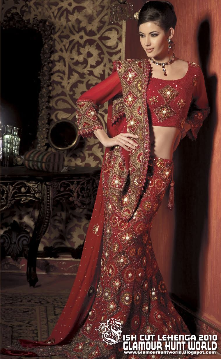 how to wear fish cut lehenga saree