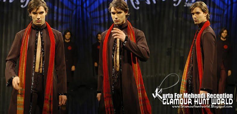 KurtaCollectionForMehendiReception 01 wwwGlamourhuntworldBlogspotcom - Dashing Men's Wear