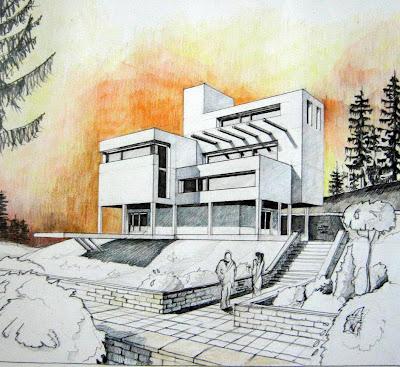 Desene arhitectura casa moderna for Casa moderna in moldova