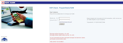 HDFC Mobile Recharge - Recharge Prepaid Card Online - HDFC Bank