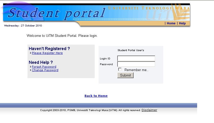 Uitm online portal login guide for uitm student ready2beat com