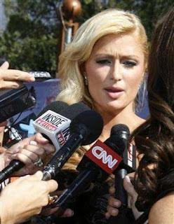 Paris Hilton speaks to the news media when her jail term was still pending.