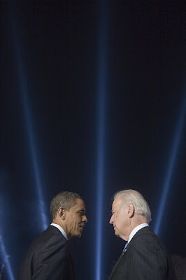 President-elect Barack Obama and Vice-president elect Joe Biden shown on-stage on election night