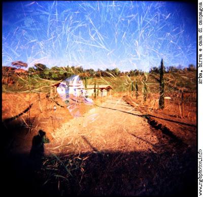 Esposizione multipla con Holga 120 CFN: casa di campagna e lattina di birra tra fili di erba