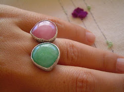GREEN AND PINK JADE RING