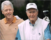 Two climate and war criminals playing golf