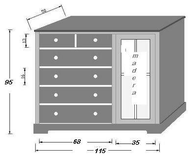 Muebles de madera mudador for Muebles con cajones de madera