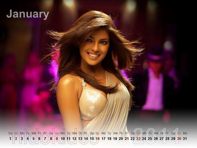 Bollywood actresses cool wallpaper of 2011 Calendar (Januray 2011 to