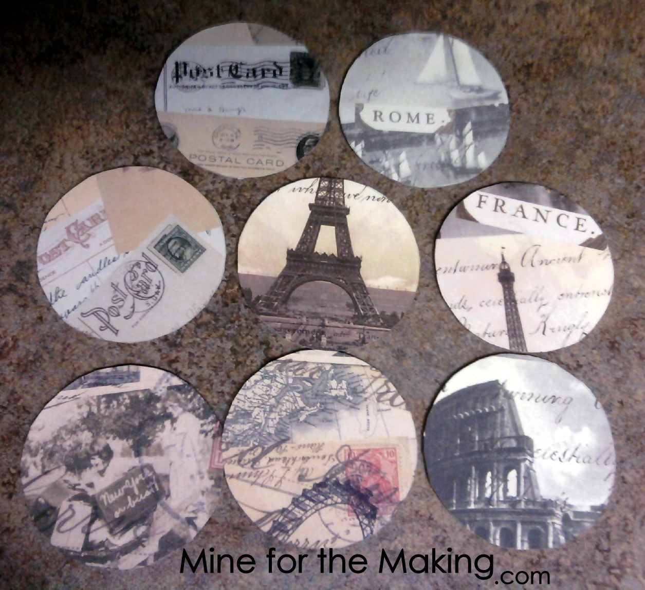 Creative with coasters part 2 circular old world for Creative coasters