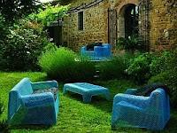 mobilia de exterior, azul