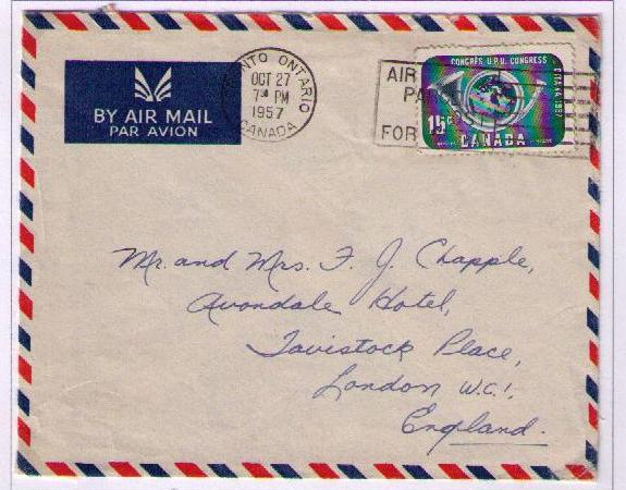 15 cents paying the one half ounce air mail letter rate to great britain