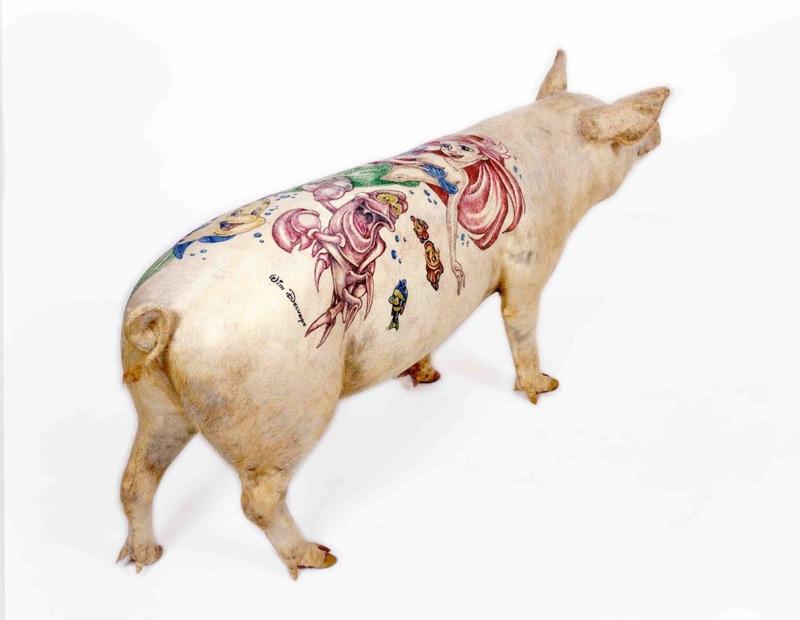 tattoo pig. piggie, pink, tattoo pig.