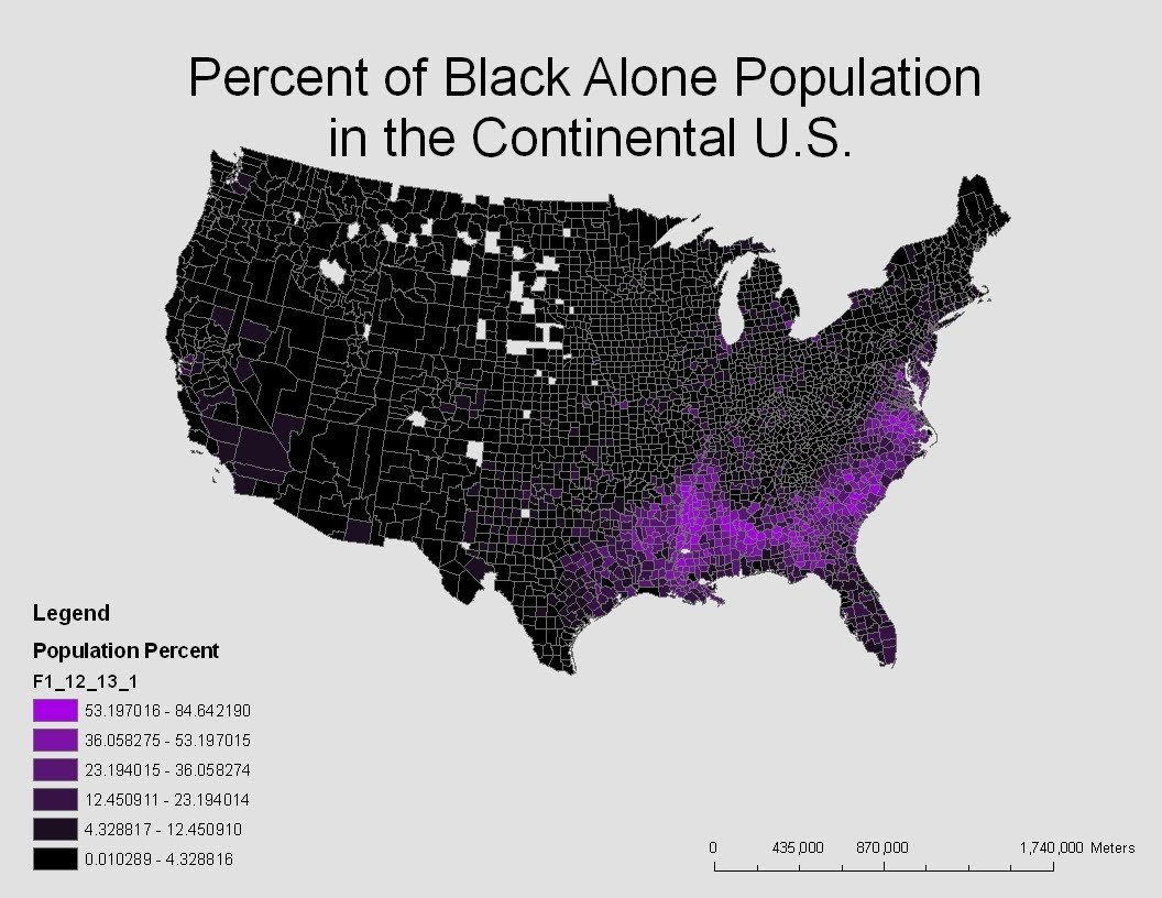 this map shows the percent of the population of african americans or black alone race in the continental united states from the color scheme on the map