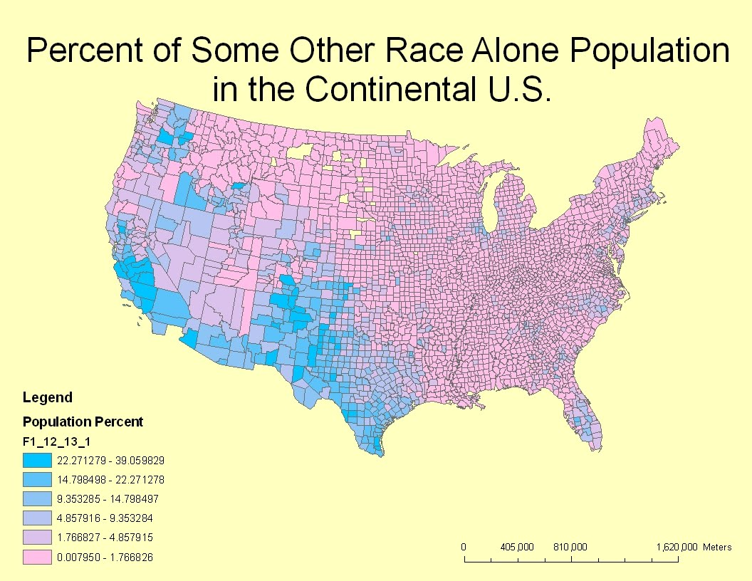 this map shows the percent of an unknown race or some other race alone across the continental us the blue to pink in the legend shows that there are as