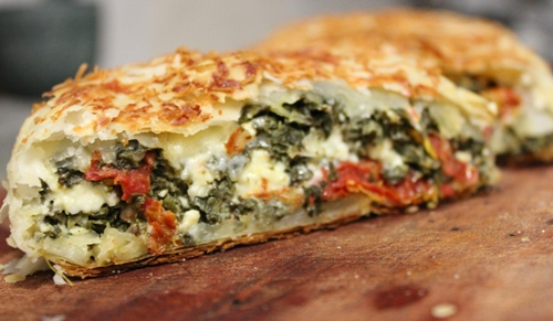 Spinach Feta and Sundried Tomato Strudel