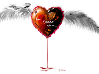 Red Heart with Wings Wallpaper