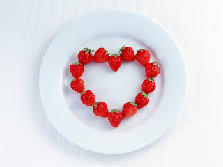 Heart Shaped Made Of Strawberries Stock Photos